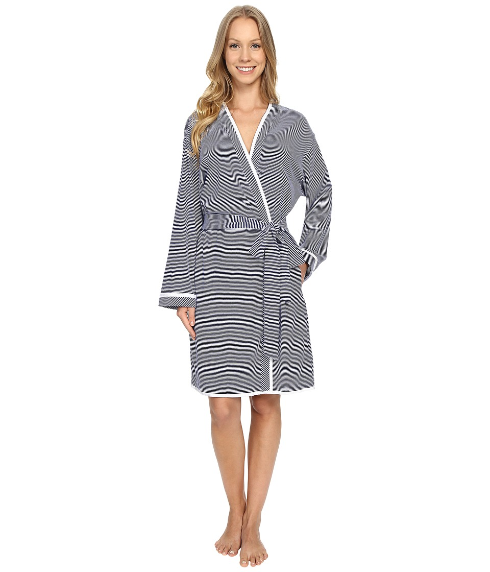 Eileen West - Short Wrap Robe (Navy/White Stripe Yarndye) Women's Robe plus size,  plus size fashion plus size appare