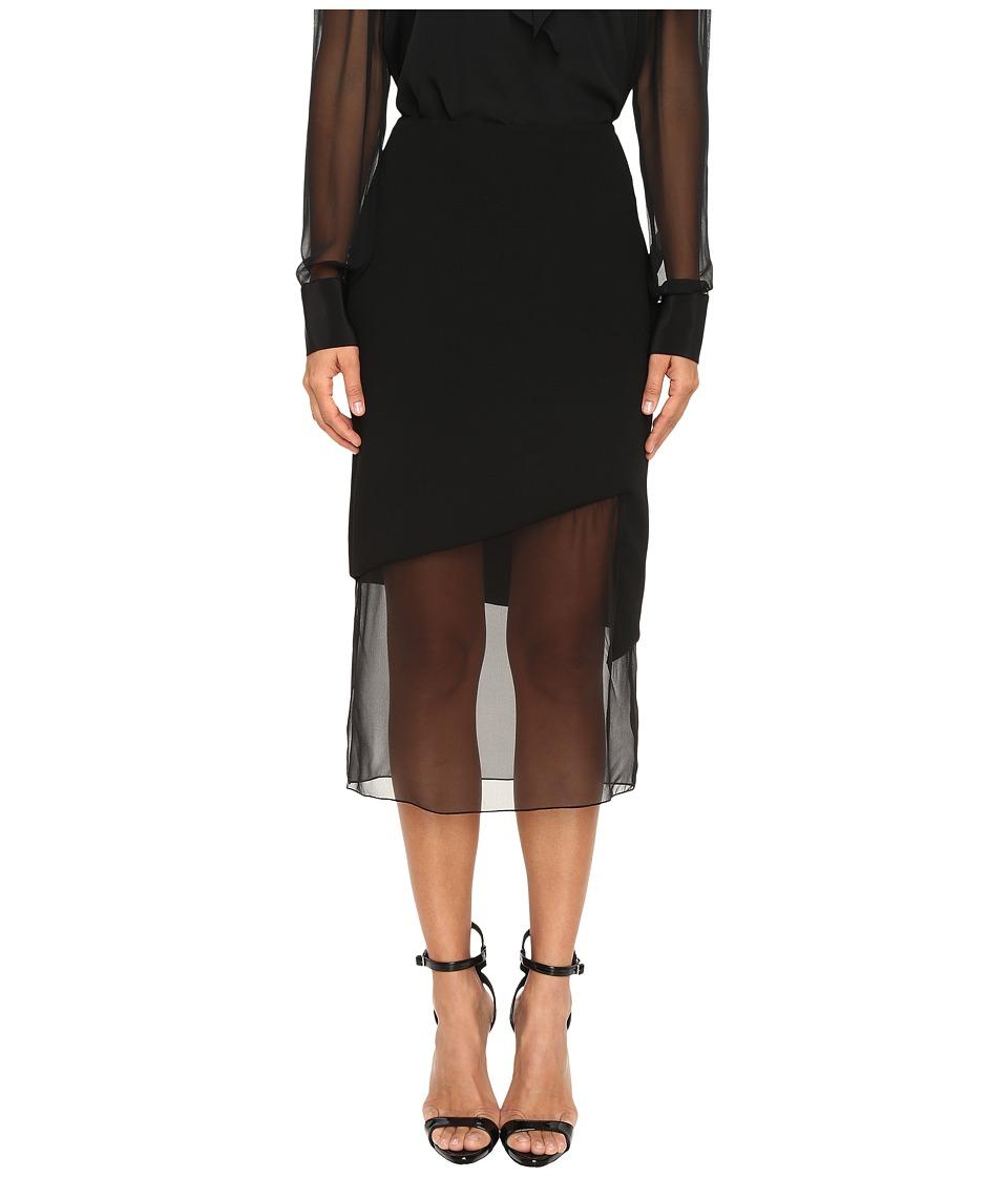 Prabal Gurung - Chiffon Combo Pencil Skirt (Black) Women's Skirt