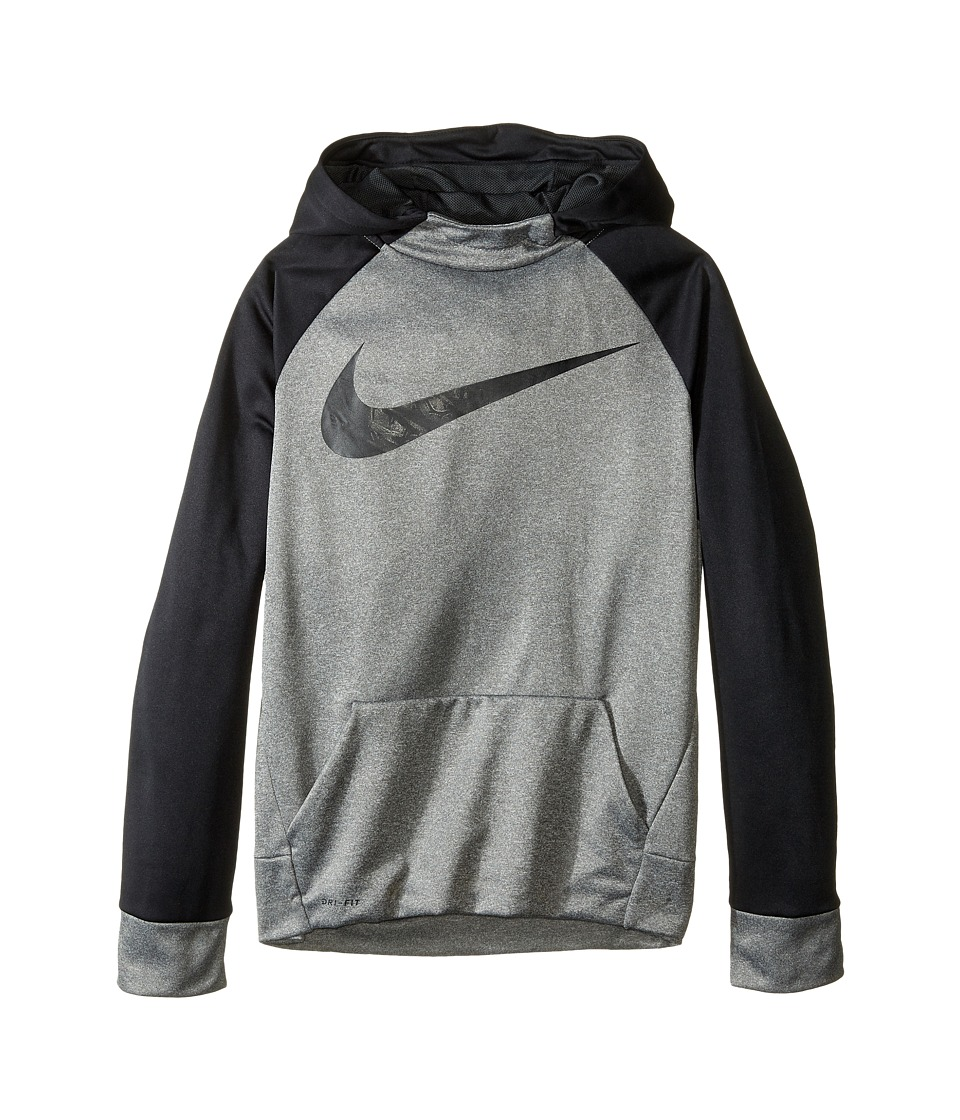Nike Kids - Therma Hoodie (Little Kids/Big Kids) (Dark Grey Heather/Black) Boy's Sweatshirt