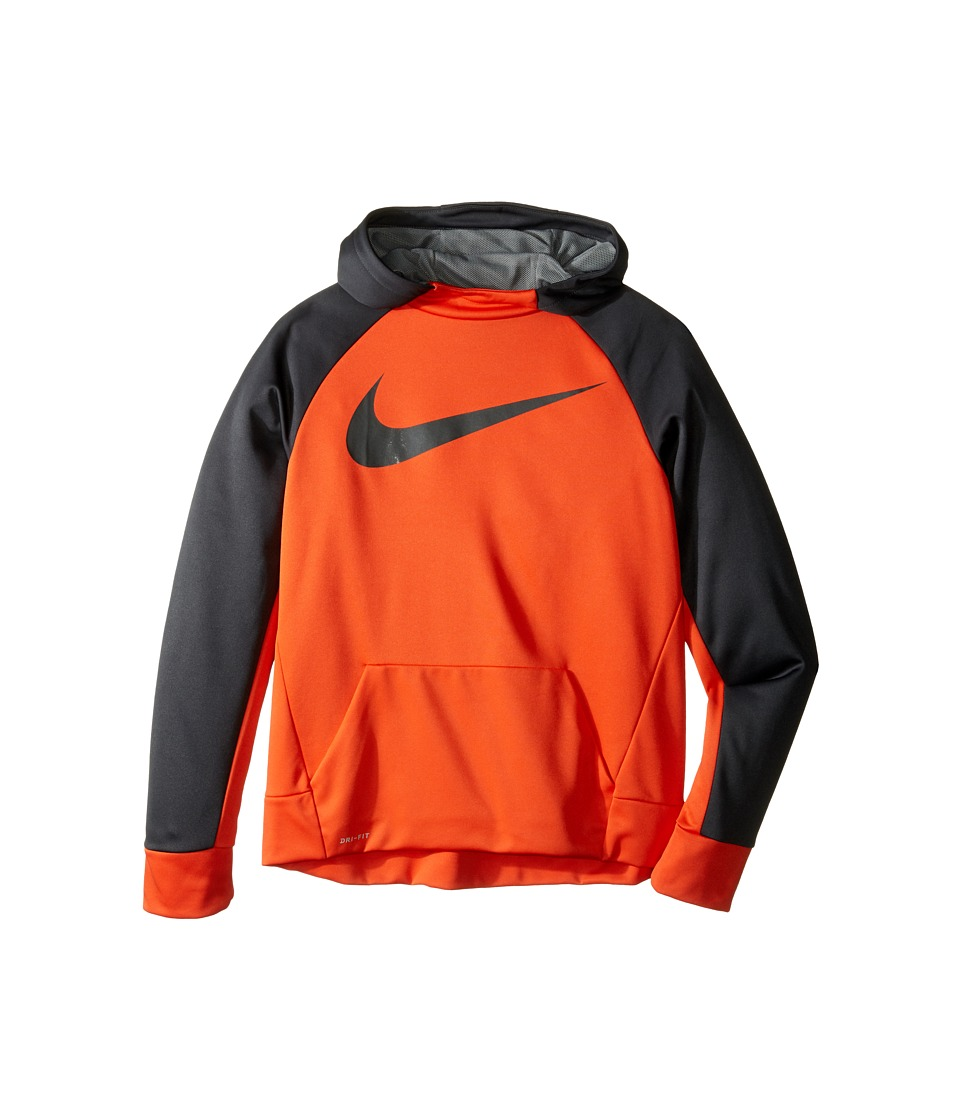 Nike Kids - Therma Hoodie (Little Kids/Big Kids) (Team Orange/Anthracite) Boy's Sweatshirt