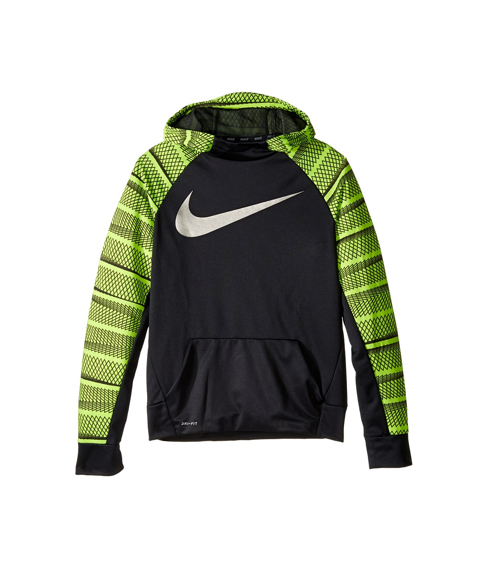Nike Kids - Therma Hoodie AOP (Little Kids/Big Kids) (Black/Black/Volt) Boy's Sweatshirt