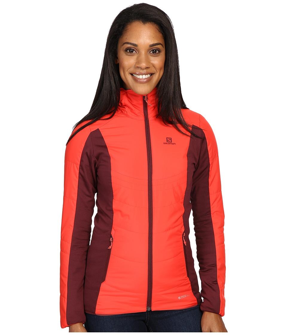 Salomon - Drifter Mid Hoodie (Infrared/Pinot Noir) Women's Sweatshirt