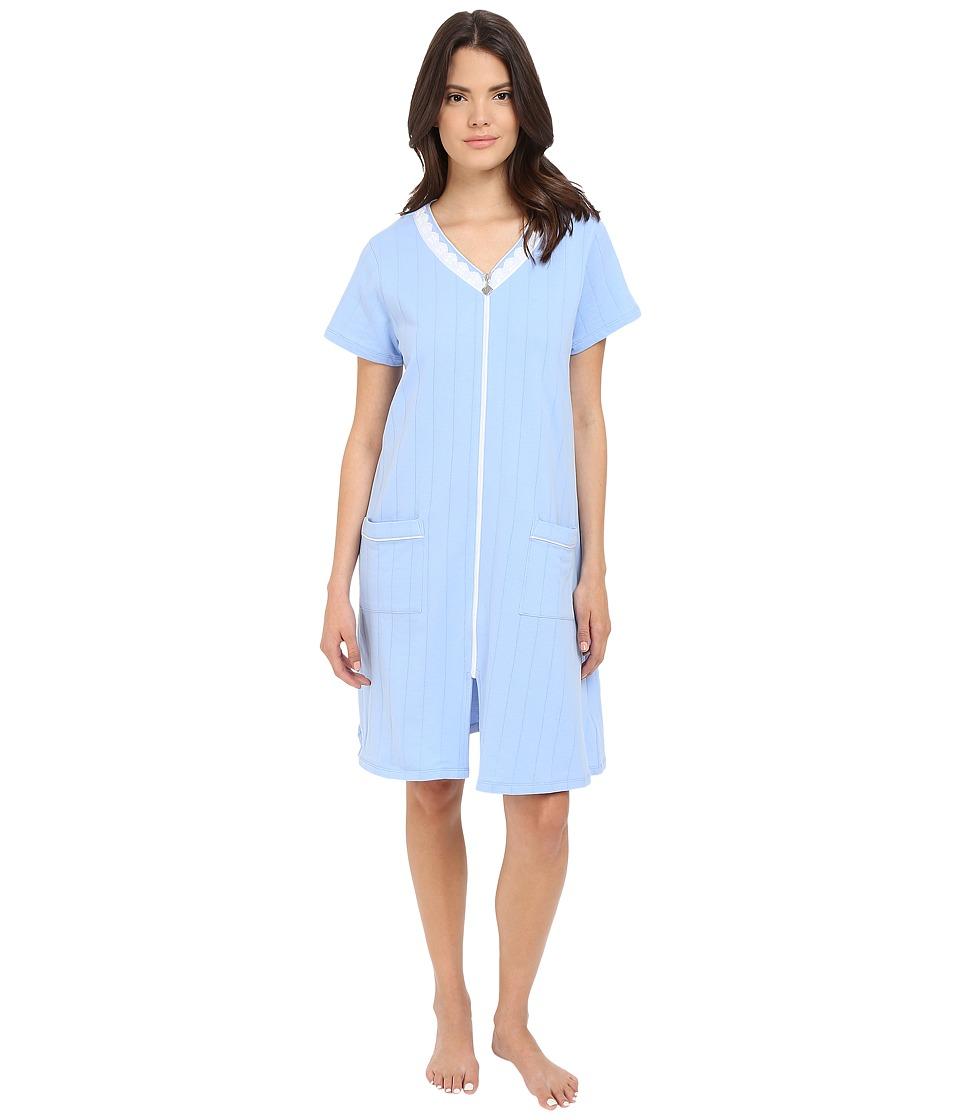 Eileen West - Short Zip Robe (Solid Dark Peri) Women's Robe