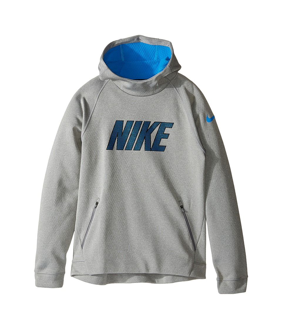 Nike Kids - Therma Sphere Hoodie (Little Kids/Big Kids) (Dark Grey Heather/Light Photo Blue/Black) Boy's Sweatshirt
