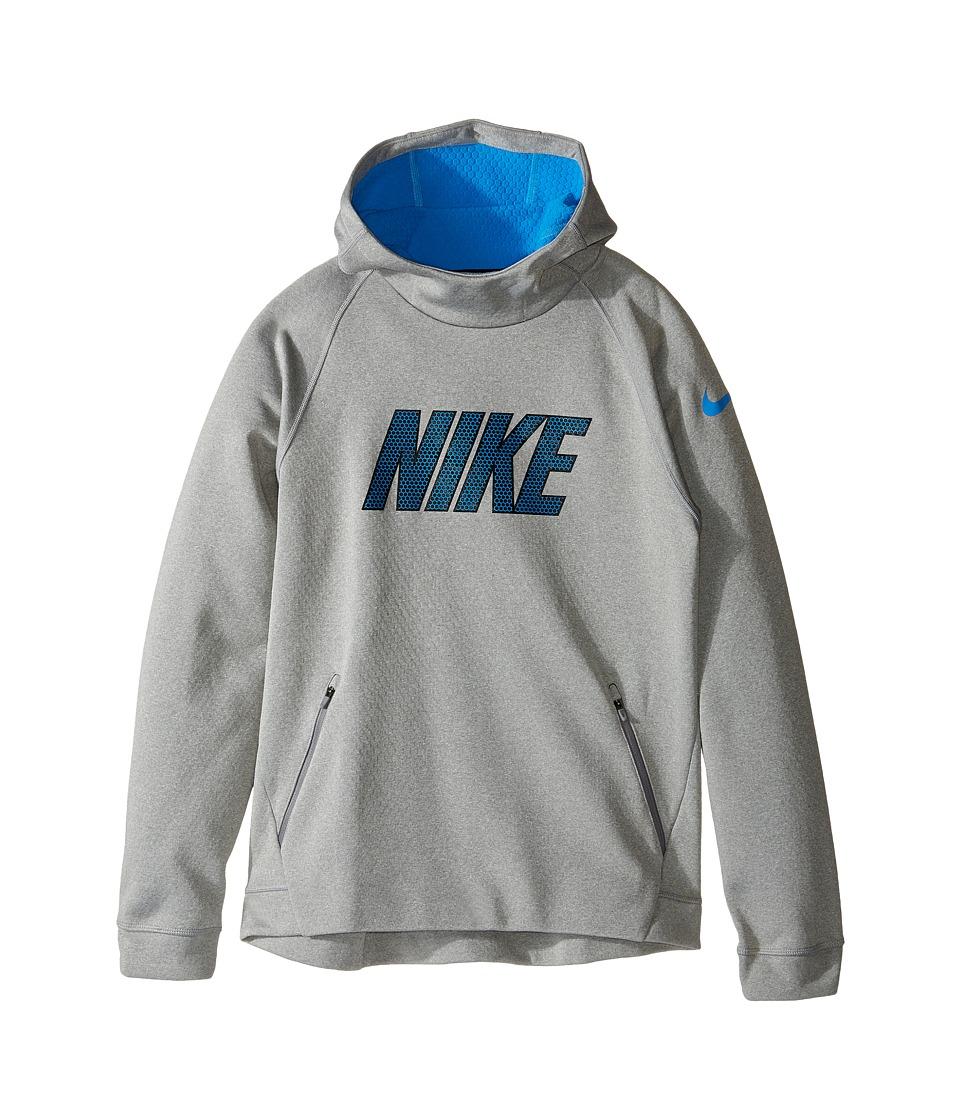 Nike Kids - Therma Sphere Hoodie (Little Kids/Big Kids) (Dark Grey Heather/Light Photo Blue/Black) Boy's Sweatshirt