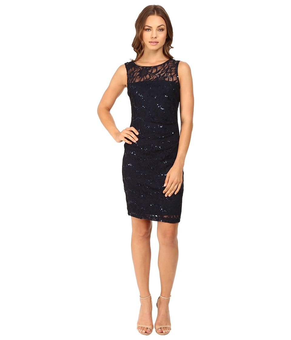 rsvp - Angel Lace Illusion Dress (Navy) Women's Dress