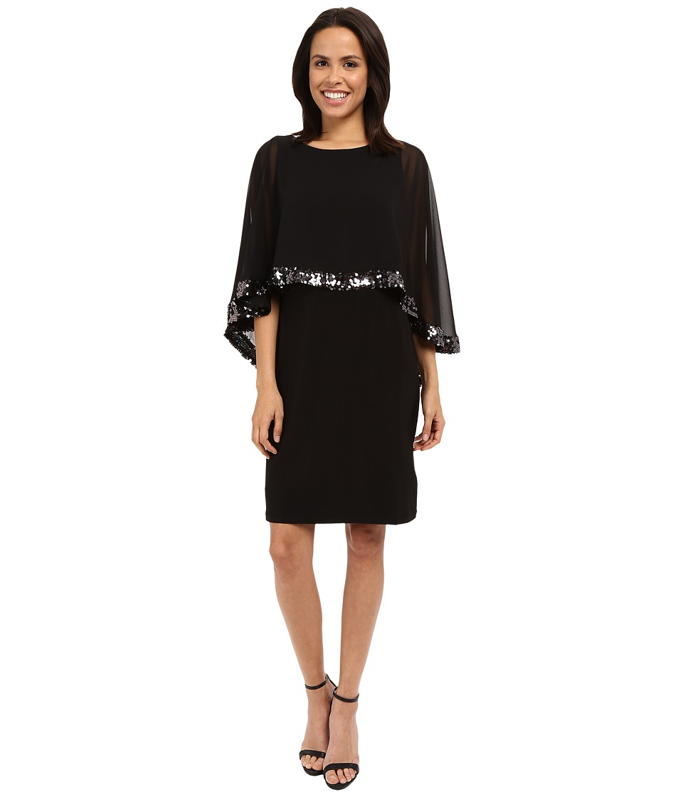rsvp - Chiffon Caplet Sequin Trim Dress (Black) Women's Dress