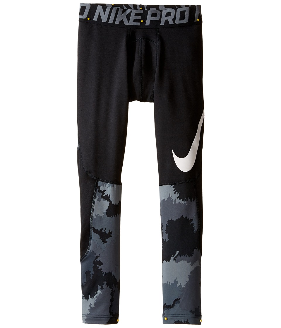 Nike Kids - Pro Hyperwarm Printed Tight (Little Kids/Big Kids) (Black/Cool Grey/White) Boy's Casual Pants