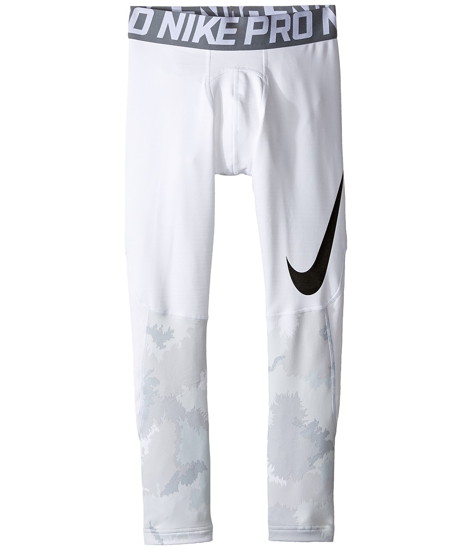 Nike Kids - Pro Hyperwarm Printed Tight (Little Kids/Big Kids) (White/Cool Grey/Black) Boy's Casual Pants