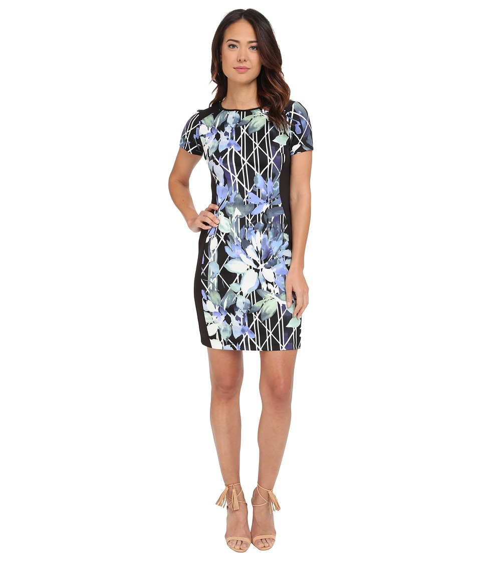 Vince Camuto - Short Sleeve Sheath with Combo Sides (Print) Women's Dress