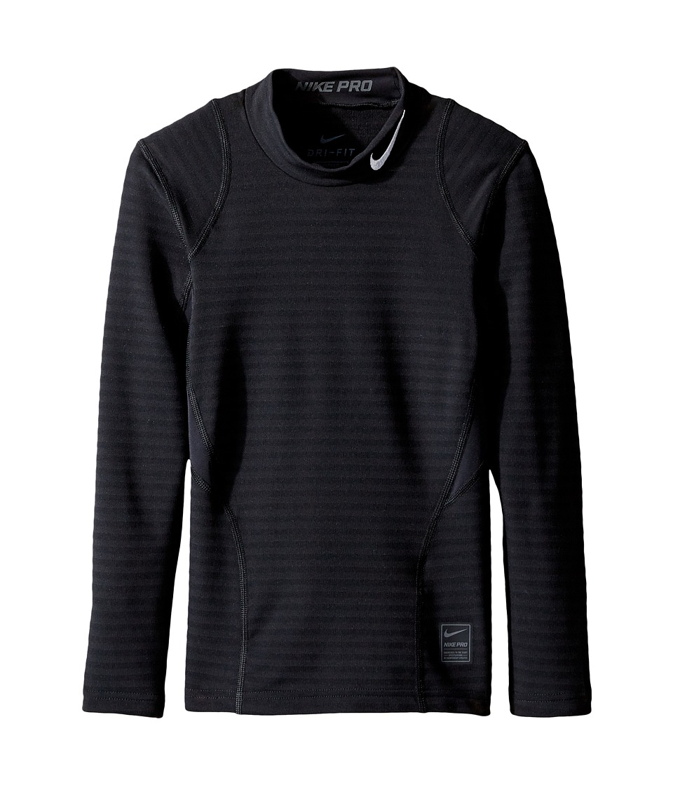 Nike Kids - Long Sleeve Mock Top (Little Kids/Big Kids) (Black/Dark Grey/White) Boy's Clothing