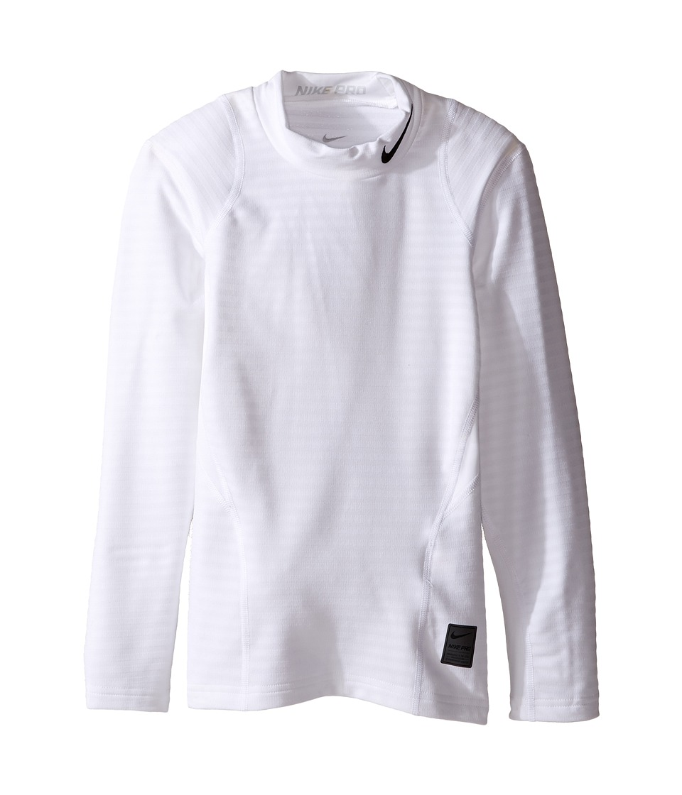 Nike Kids - Long Sleeve Mock Top (Little Kids/Big Kids) (White/Pure Platinum/Black) Boy's Clothing