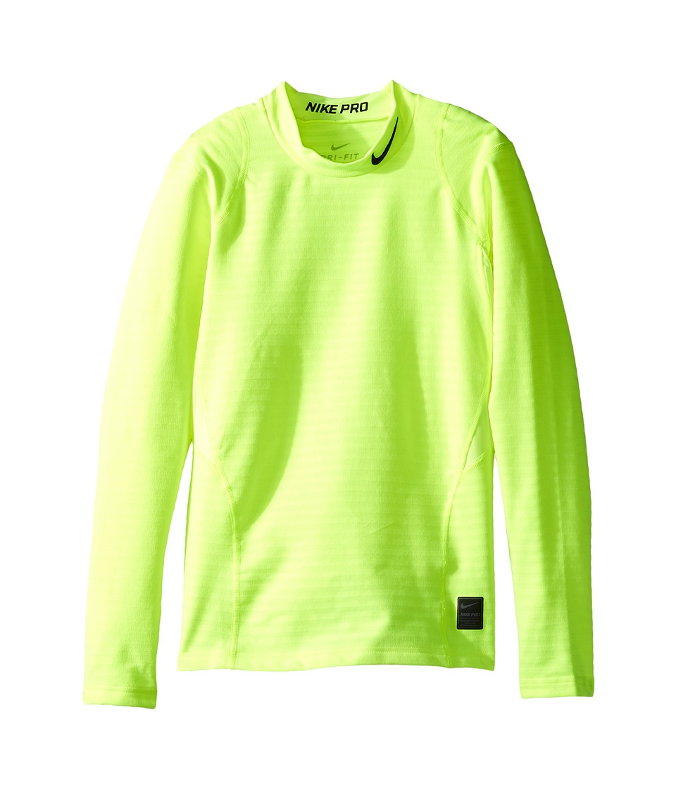 Nike Kids - Long Sleeve Mock Top (Little Kids/Big Kids) (Volt/Black/White) Boy's Clothing