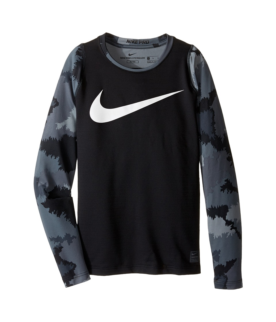 Nike Kids - Hyperwarm Long Sleeve AOP Crew Top (Little Kids/Big Kids) (Black/Cool Grey/White) Boy's Clothing