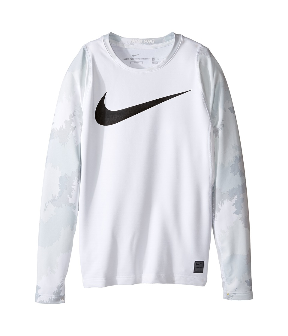 Nike Kids - Hyperwarm Long Sleeve AOP Crew Top (Little Kids/Big Kids) (White/Cool Grey/Black) Boy's Clothing