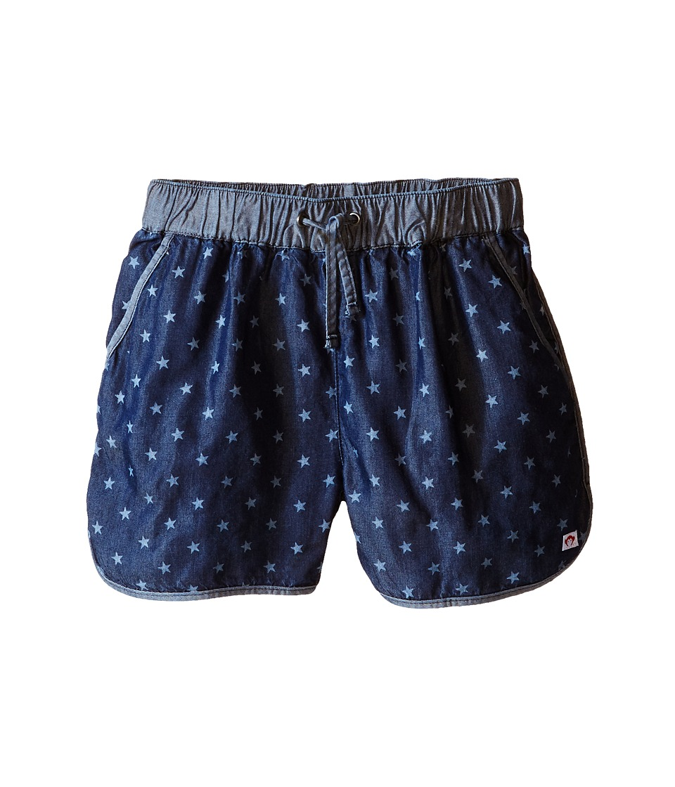 Appaman Kids - Soft Chambray Harper Track Shorts with Bleached Star Design (Toddler/Little Kids/Big Kids) (Blue Depths) Girl's Shorts