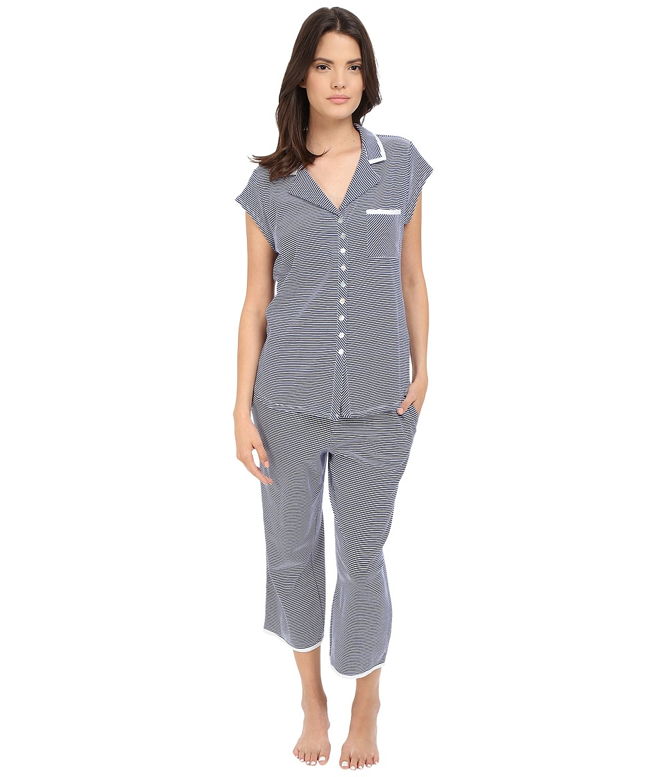 Eileen West - Notch Collar Capris Pajama (Navy/White Stripe Yarndye) Women's Pajama Sets