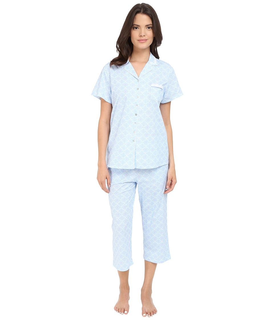 Eileen West - Notch Collar Capris Pajama (White Ground/Peri Multi Geo) Women's Pajama Sets
