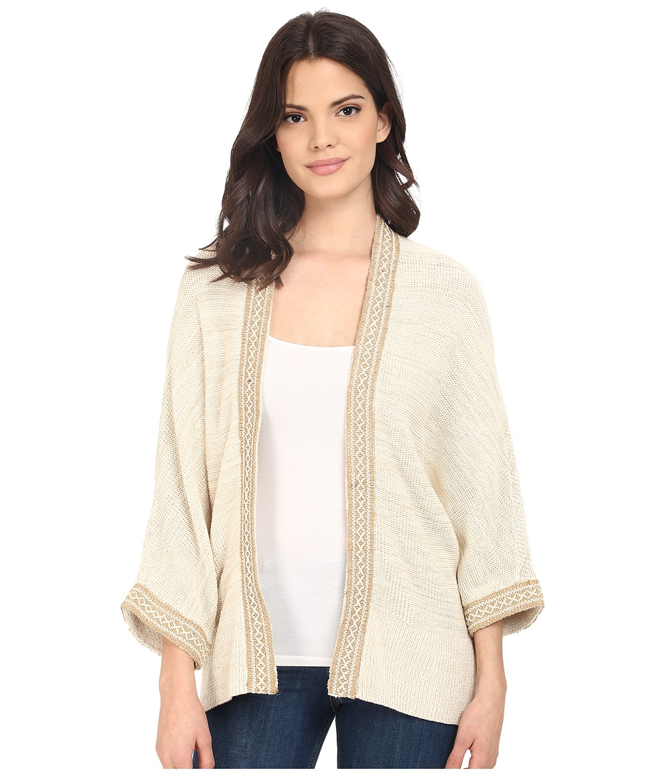 Brigitte Bailey - Jute Tape Embellished Open Cardigan (Linen) Women's Sweater