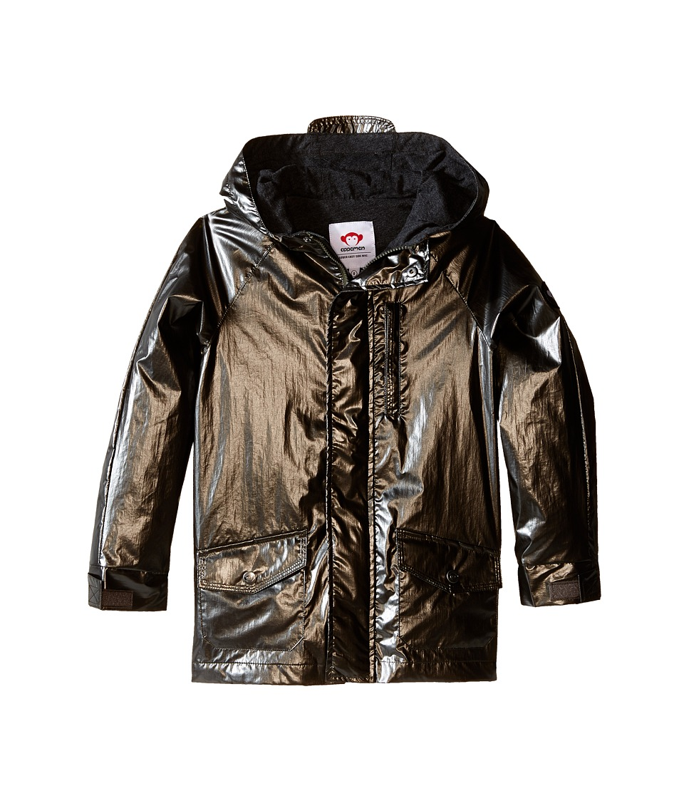 Appaman Kids - Safari Rain Jacket with Cotton Lining and Hood (Toddler/Little Kids/Big Kids) (Gunmetal) Boy's Coat