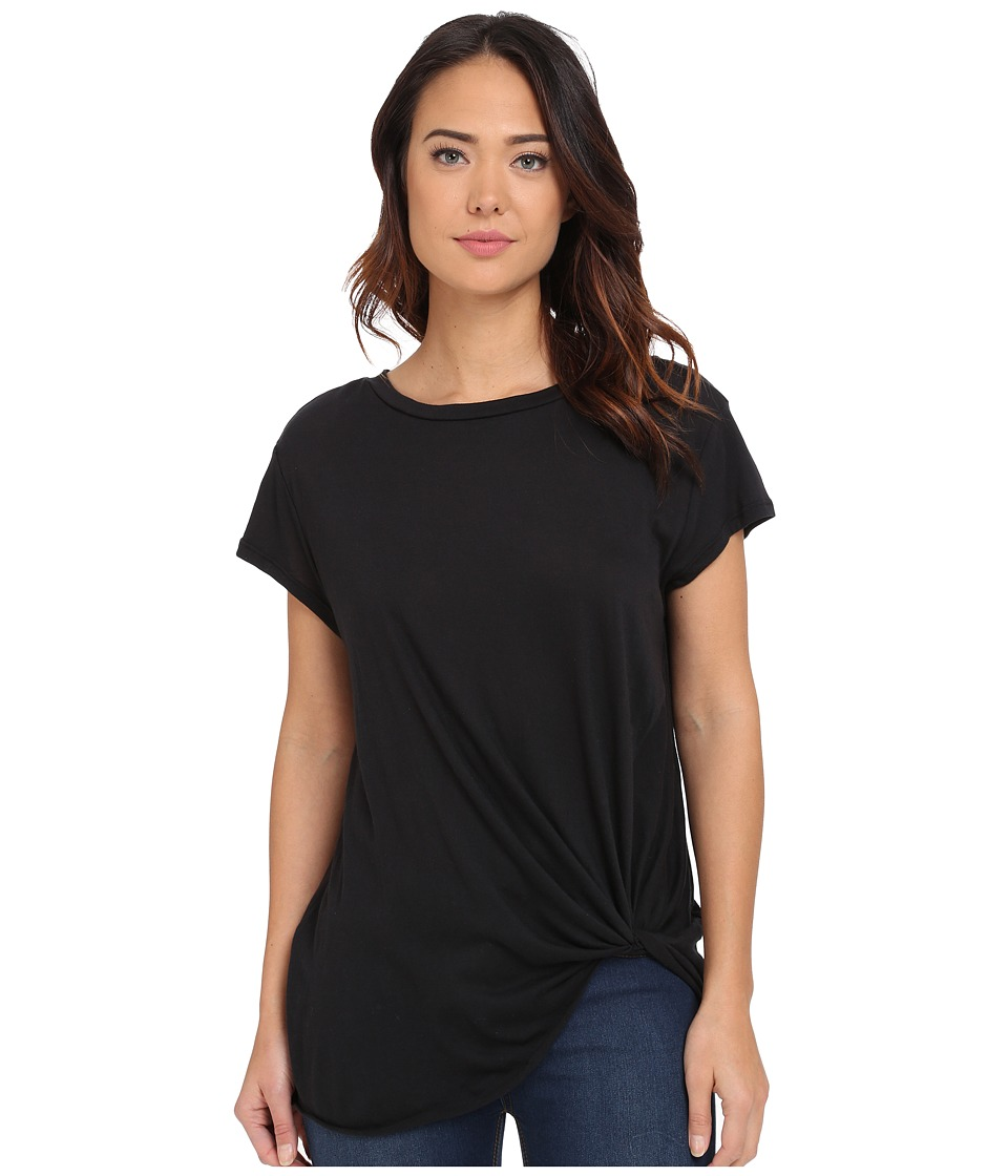 Brigitte Bailey - Knot Front T-Shirt (Black) Women's T Shirt