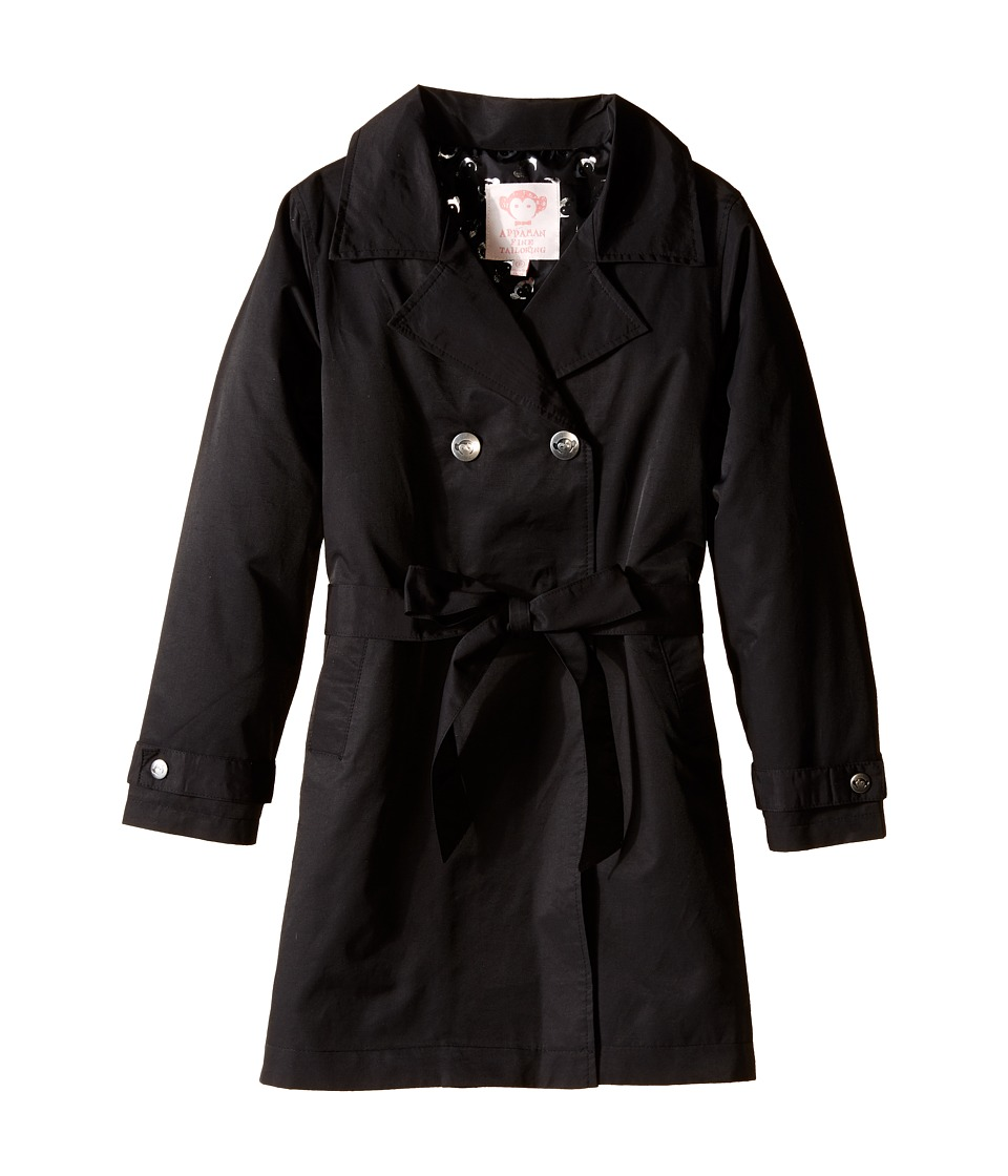Appaman Kids - Lined and Belted Classic Trench Coat (Toddler/Little Kids/Big Kids) (Black) Girl's Coat