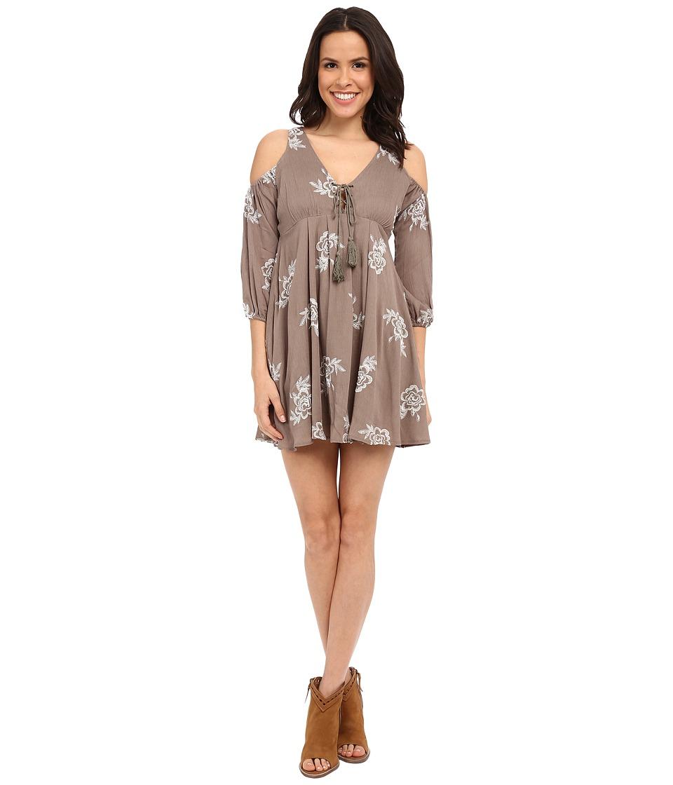 Brigitte Bailey - Sonic Embroidered Cold Shoulder Dress (Olive/Ivory) Women's Dress
