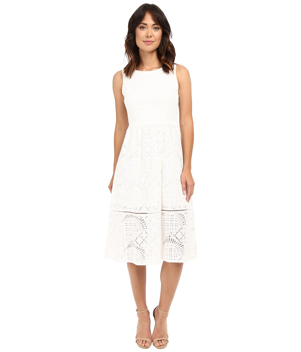Christin Michaels - Veronica Lace Midi Dress (Off-White) Women's Dress