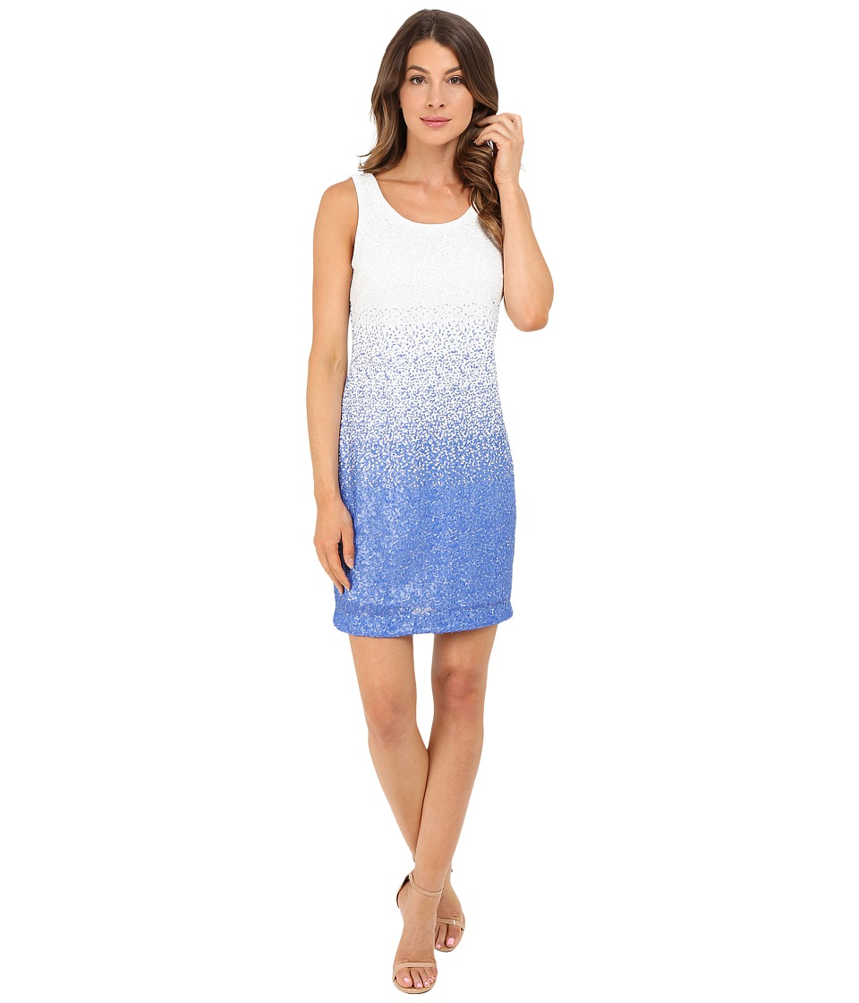 Christin Michaels - Ombre Sequin Tank Dress (Blue/White Multi) Women's Dress