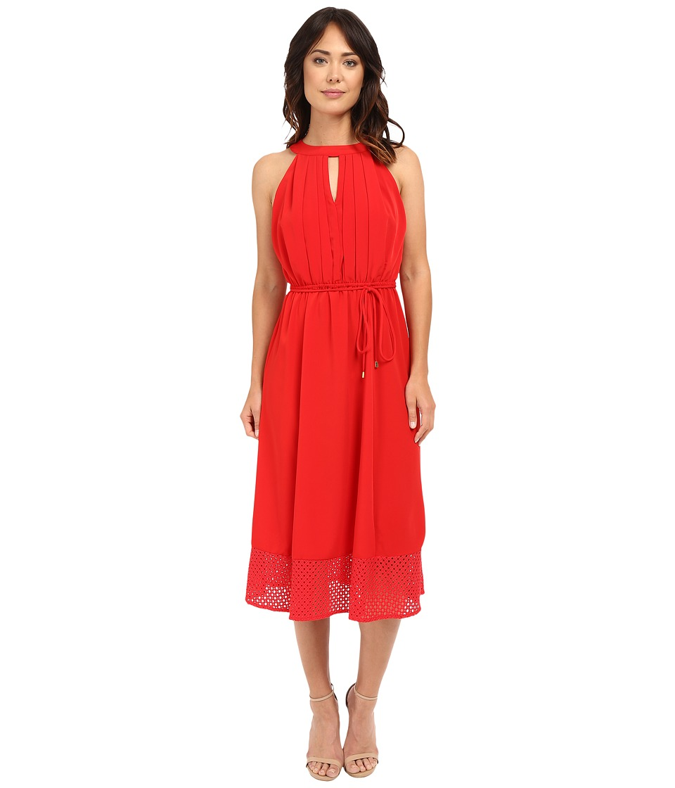 Christin Michaels - Veronica Lace Hem Midi Dress (Red) Women's Dress
