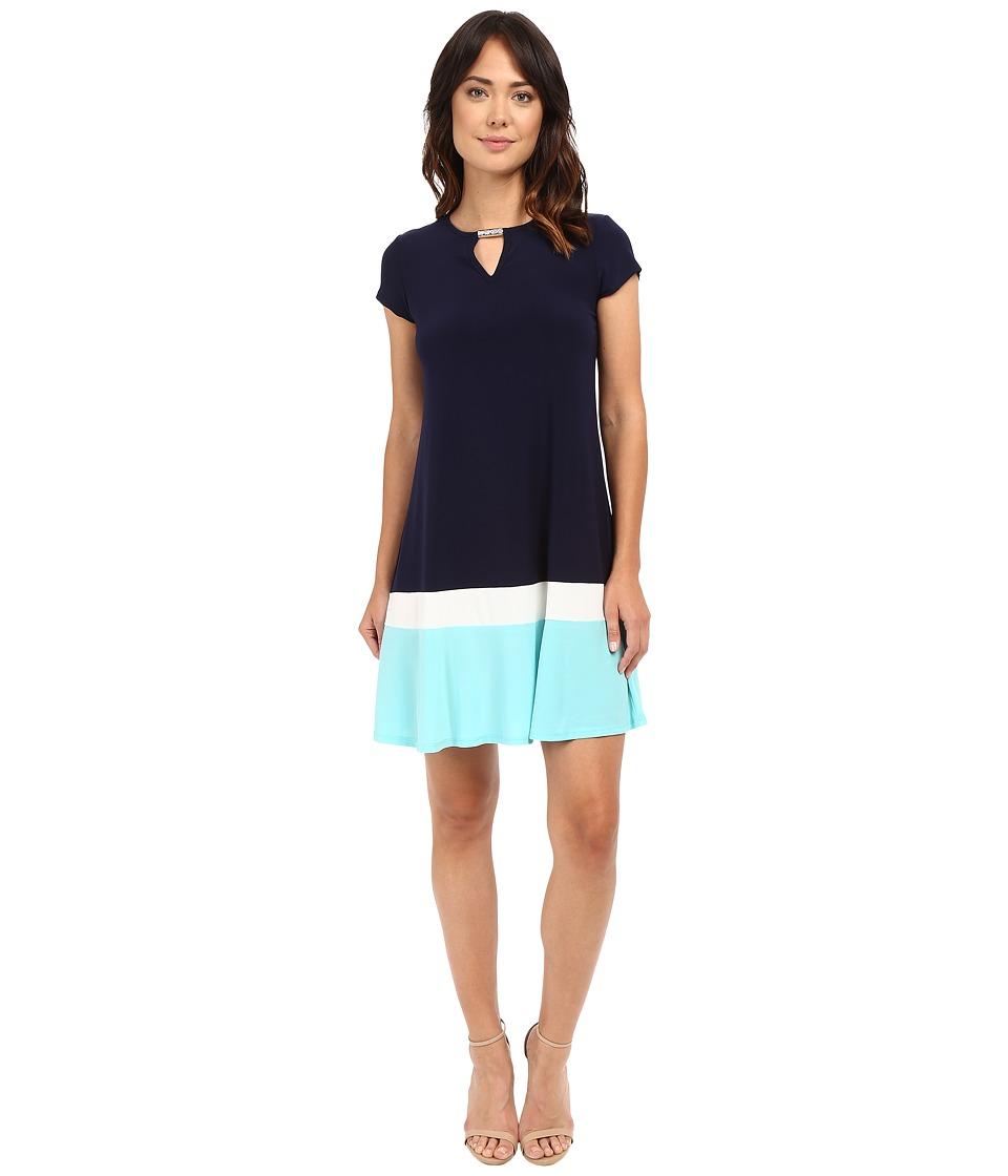 Christin Michaels - Meg Color Block Dress (Navy/Aqua) Women's Dress