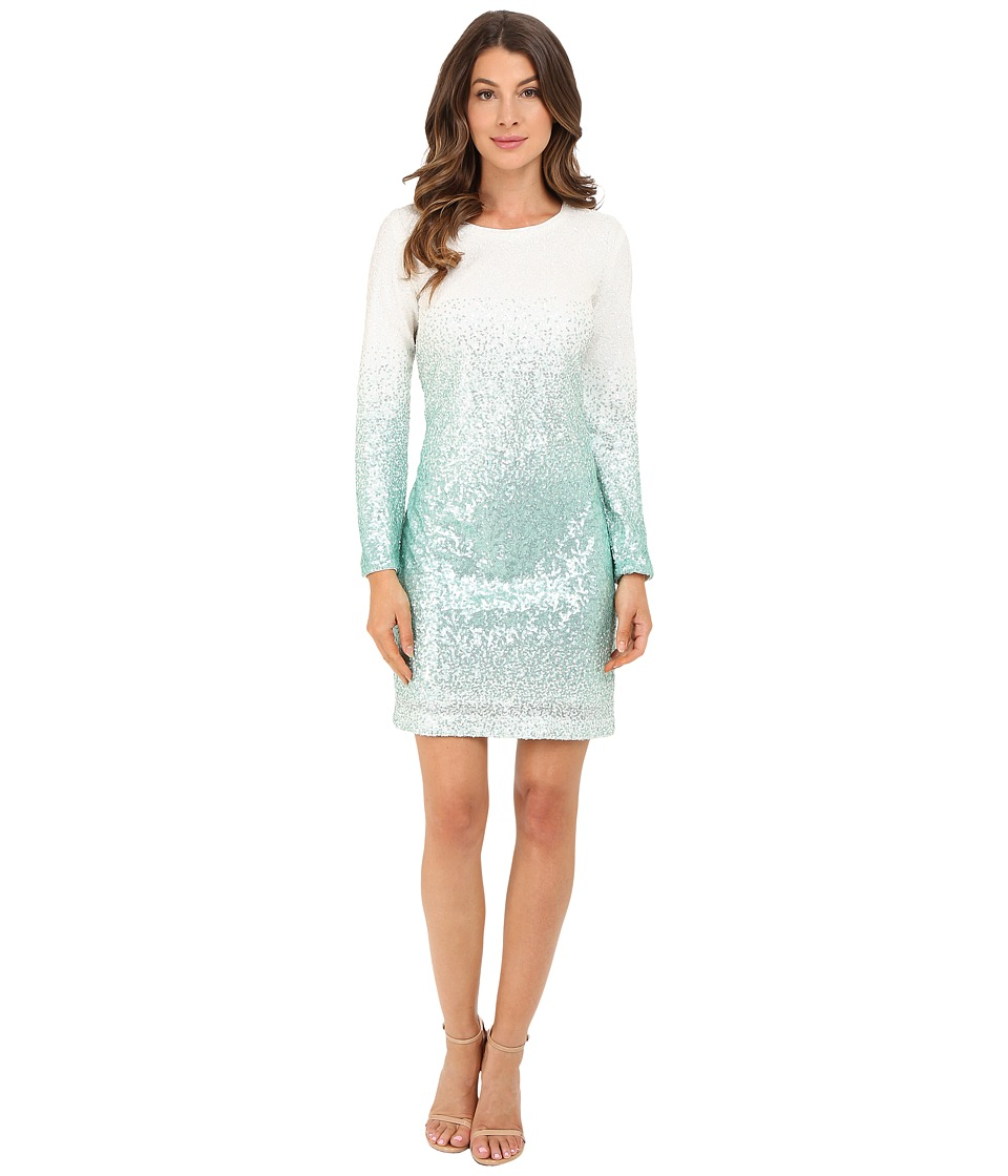 Christin Michaels - Long Sleeve Ombre Sequin Dress (Aqua/White) Women's Dress