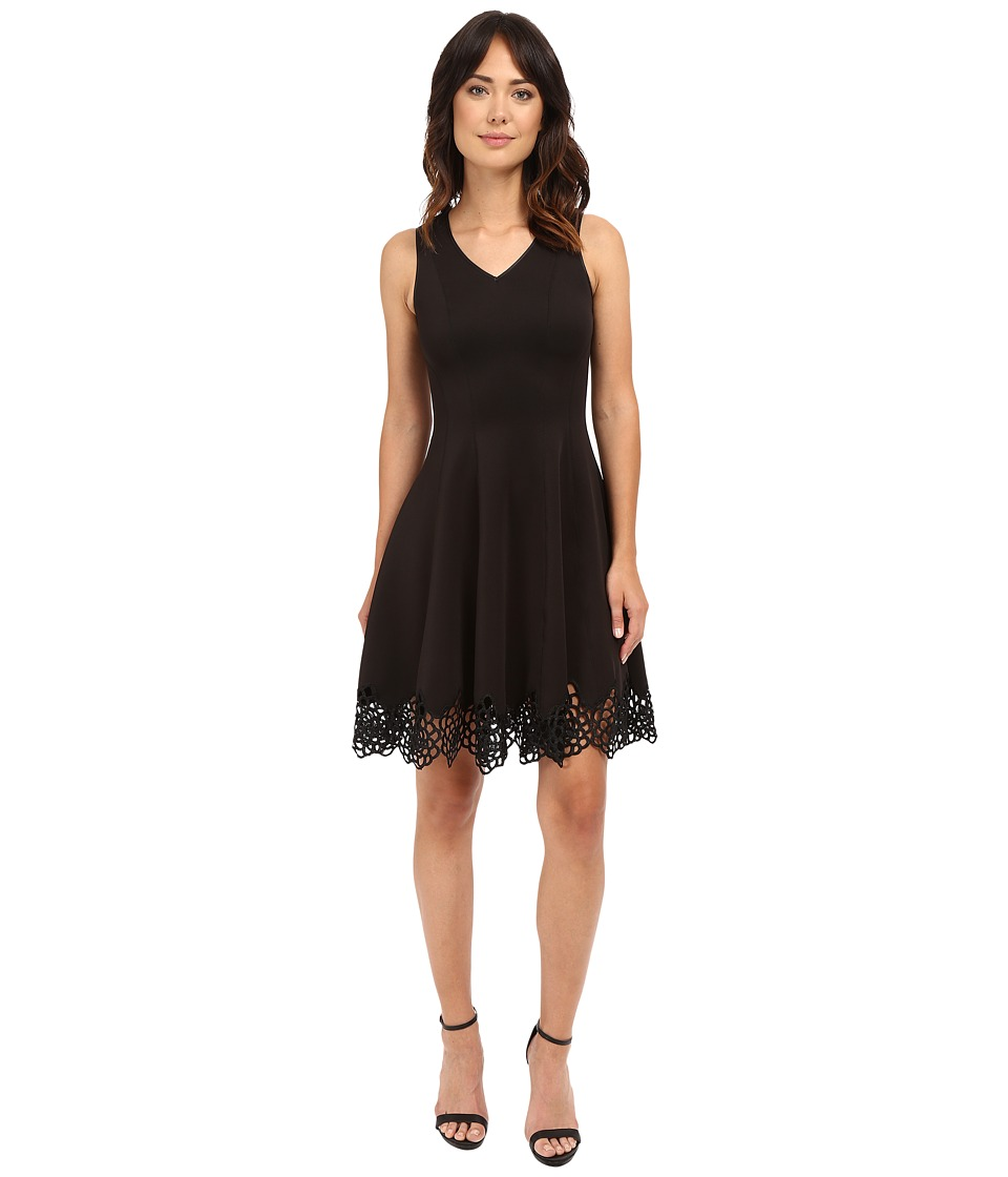 Christin Michaels - Flare Crochet Hem Scuba (Black) Women's Clothing