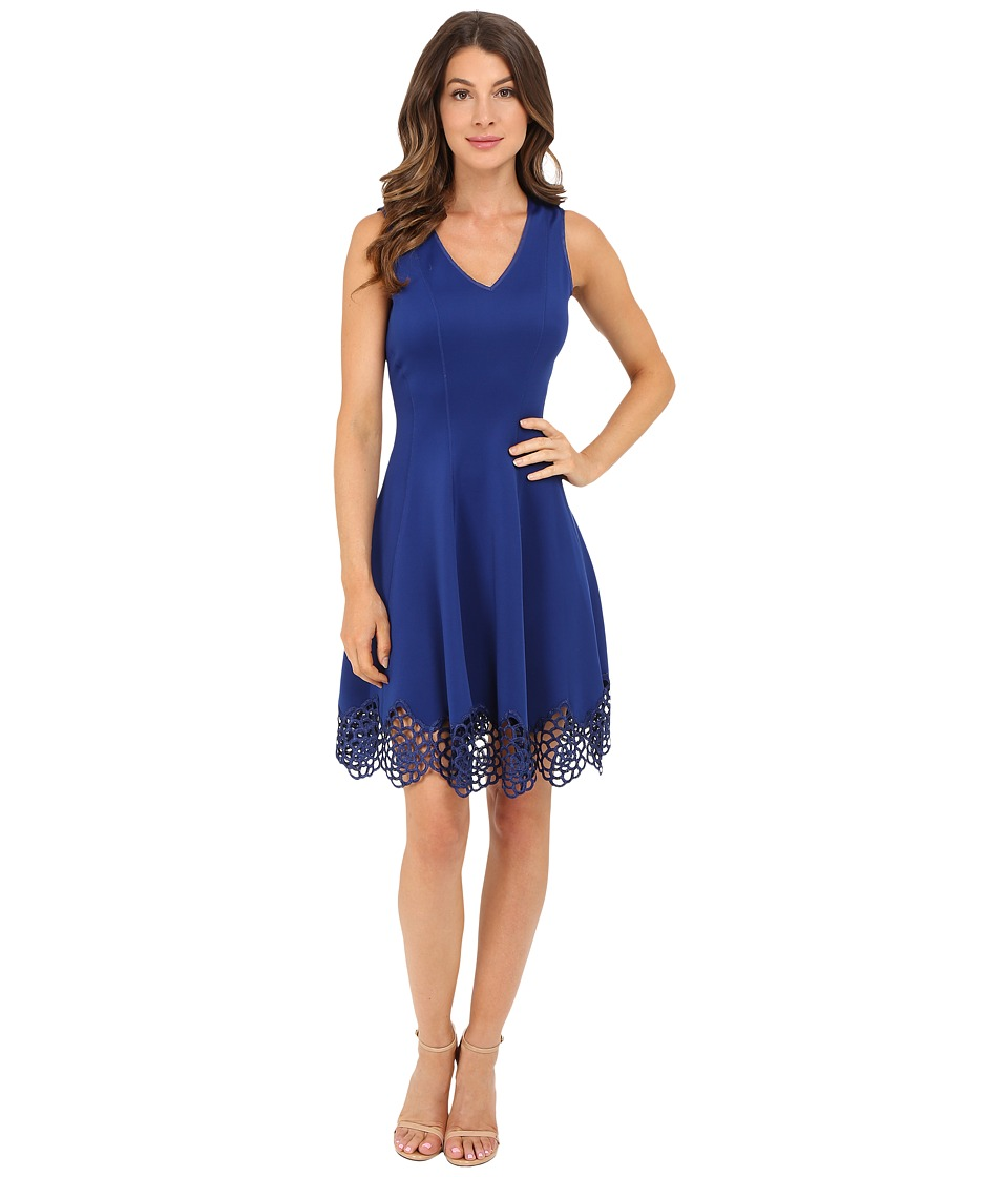 Christin Michaels - Flare Crochet Hem Scuba (Royal) Women's Clothing