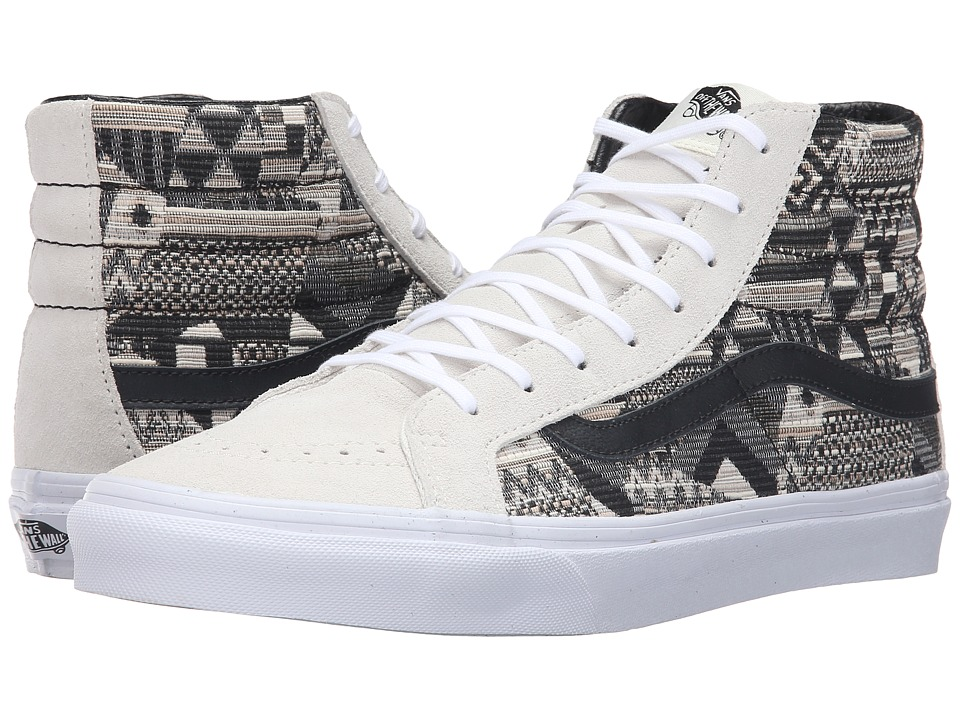 Vans - SK8-Hi Slim ((Italian Weave) White/Black) Skate Shoes
