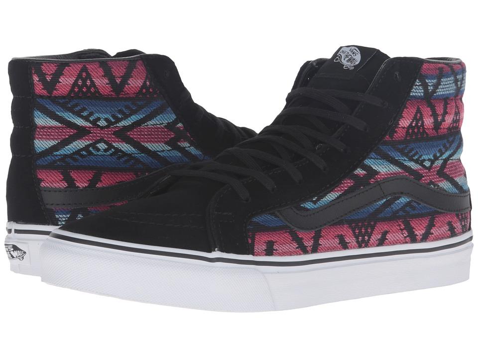 Vans - SK8-Hi Slim ((Moroccan Geo) Black/True White) Skate Shoes