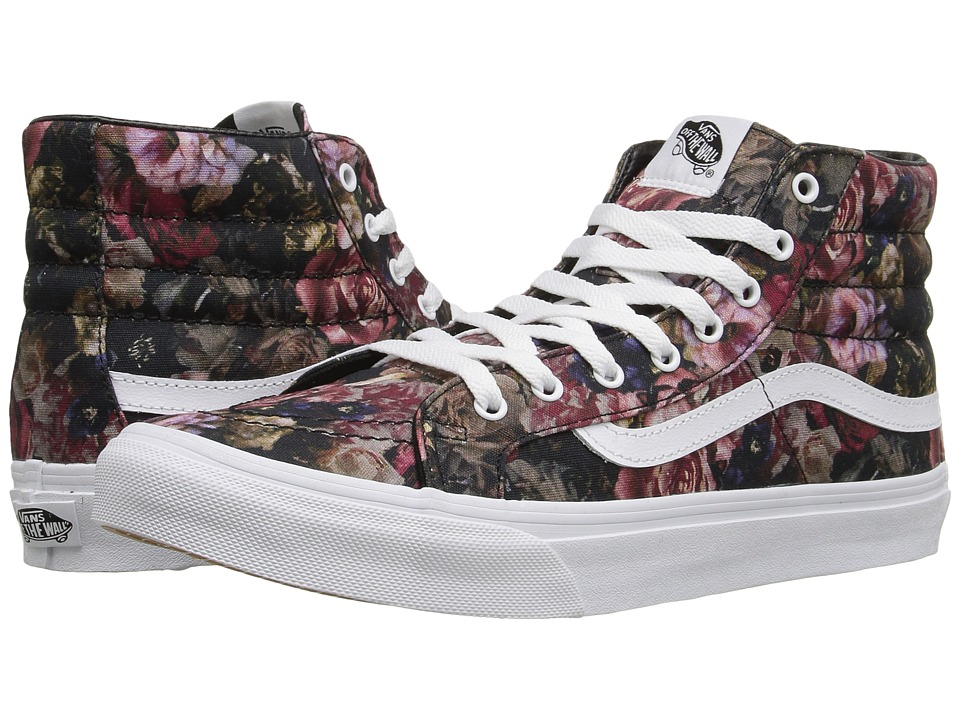 Vans - SK8-Hi Slim ((Moody Floral) Black/True White) Skate Shoes