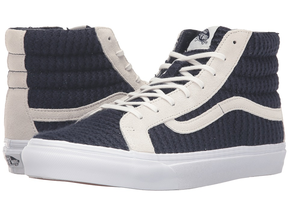 Vans - SK8-Hi Slim ((Suede/Woven) Navy Blue/True White) Skate Shoes