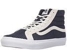 SK8-Hi Slim ((Suede/Woven) Navy Blue/True White) Skate Shoes