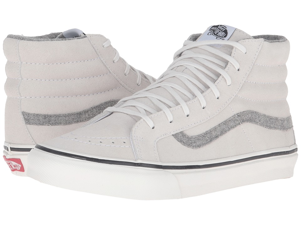 Vans - SK8-Hi Slim ((Vintage Suede) True White) Skate Shoes
