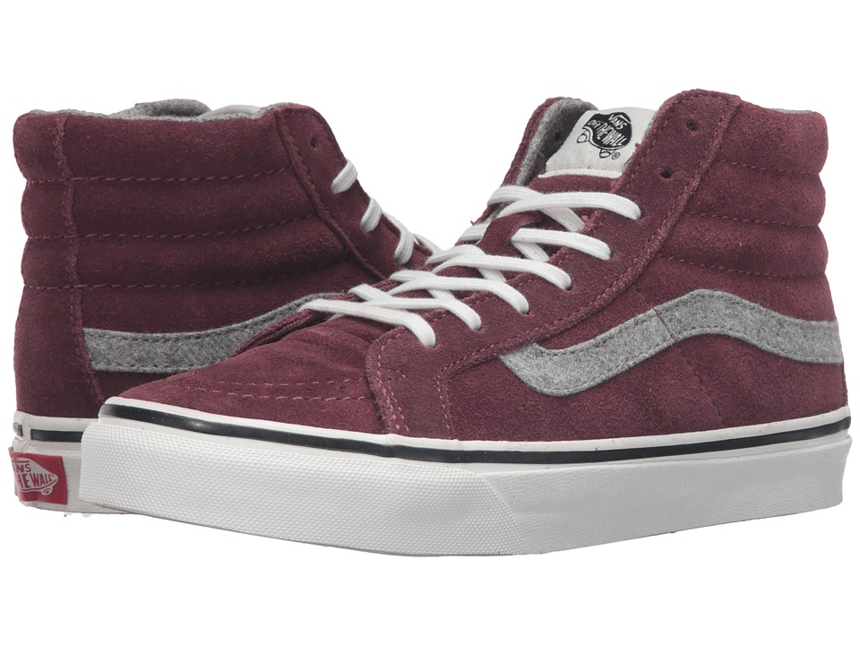 Vans - SK8-Hi Slim ((Vintage Suede) Red Mahogany) Skate Shoes