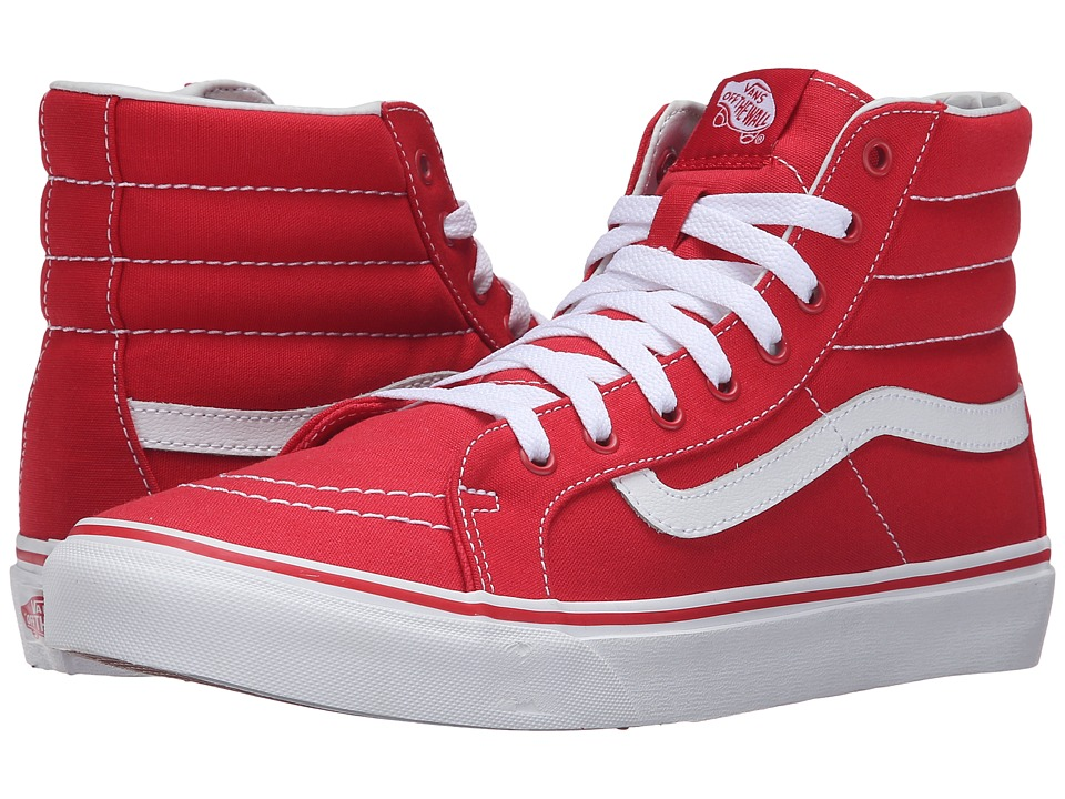 Vans - SK8-Hi Slim (Racing Red/True White) Skate Shoes