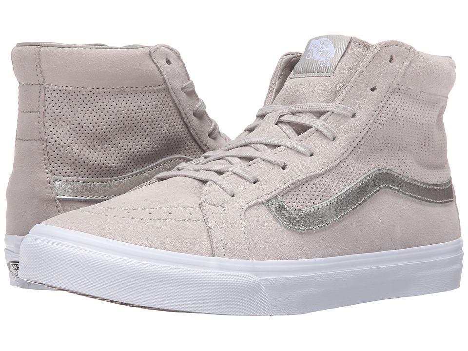 Vans - SK8-Hi Slim Cutout ((Perf Suede) Silver Cloud/True White) Shoes