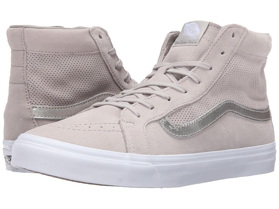 Vans - SK8-Hi Slim Cutout ((Perf Suede) Silver Cloud/True White) Shoes