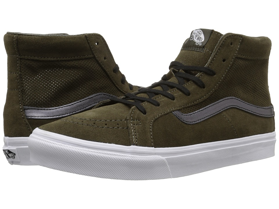 Vans - SK8-Hi Slim Cutout ((Perf Suede) Tarmac/True White) Shoes