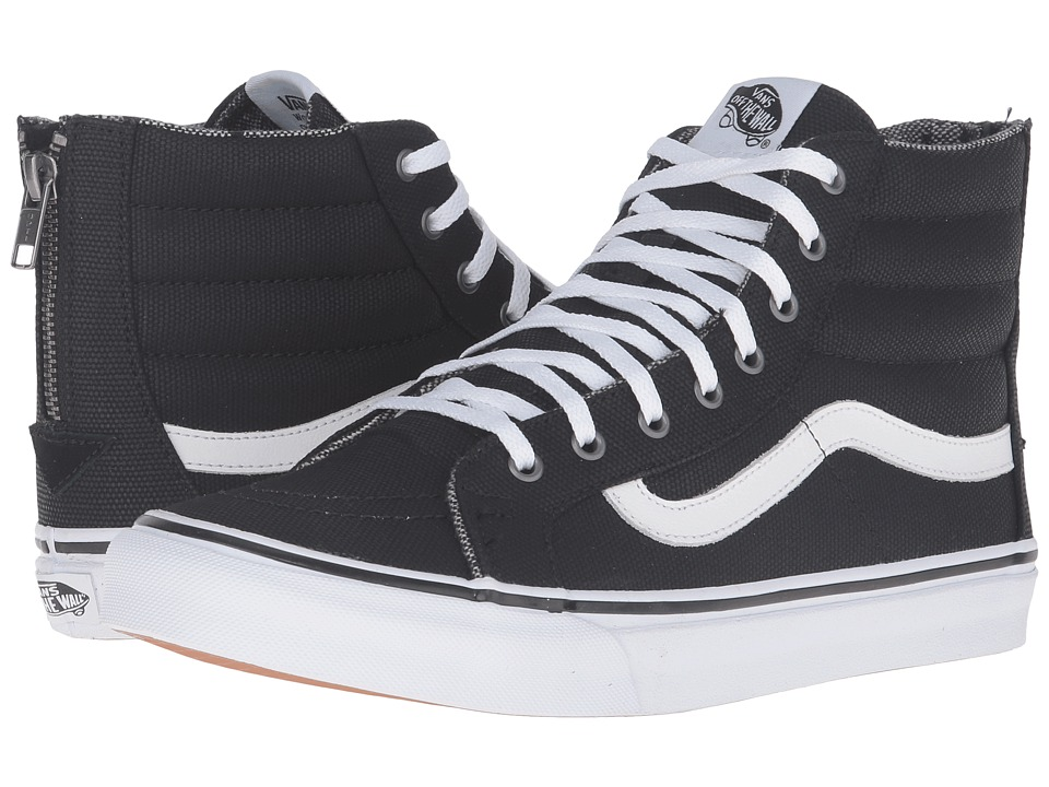 Vans - SK8-Hi Slim Zip ((Tweed Dots) Black/True White) Skate Shoes