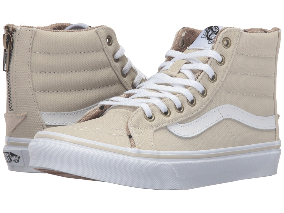 Vans - SK8-Hi Slim Zip ((Tweed Dots) Oyster Gray/True White) Skate Shoes