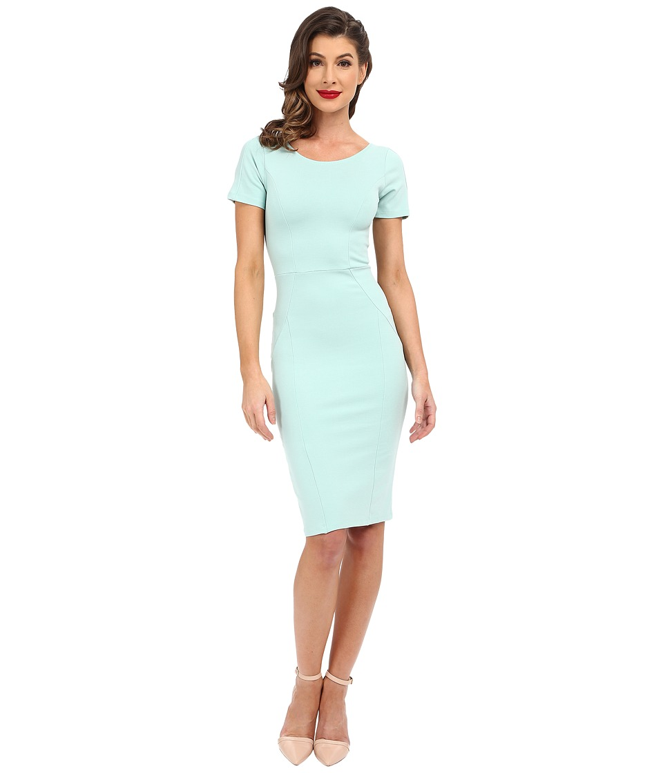 Unique Vintage - Knit Bodycon Short Sleeve Mod Dress (Mint) Women's Dress