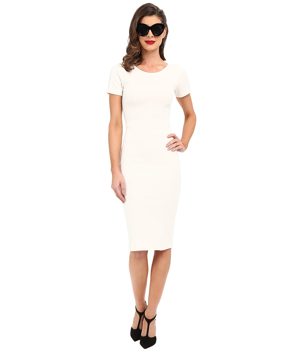 Unique Vintage Knit Bodycon Short Sleeve Mod Dress (White) Women