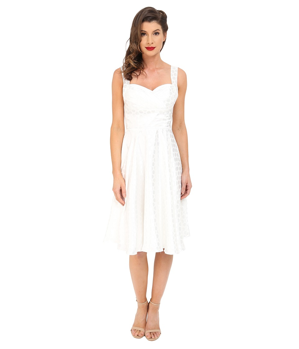 Unique Vintage Happily Ever After Fit Flare Dress (White Dot) Women